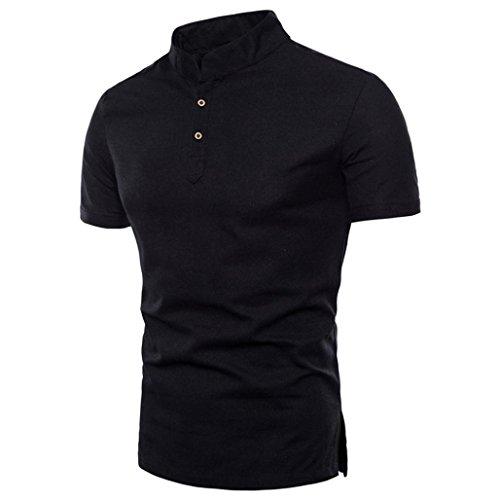 Herren Shirt, Rundhalsausschnitt Kurzarm Einfarbige BasicFitness Atmungsaktiv Sweatshirt T-Shirt mit Kragen in vielen Farben Größen s-3xl (M, Schwarz)