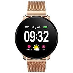 Smartwatch Fashion para Hombre Mujer Reloj Inteligente con Pantalla Completa Táctil Monitores de Actividad IP67 Fitness Tracker con Monitor de Sueño Pulsómetros Podómetro Compatible con iOS Android