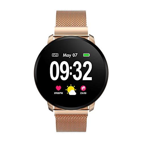GOKOO Smartwatch Damen Frauen Fitness Armbanduhr mit Full-Touchscreen IP67 Wasserdicht Fitness Tracker Pulsuhren blutdruck Uhr mit Kalorienzähler Schlafmonitor für Android IOS (Double Straps)