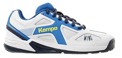 timeless design 61ebb 9a11a Kempa Unisex-Kinder Wing JUNIOR Handballschuhe Weiß Blanc Ciel Bleu Marine,  36 EU