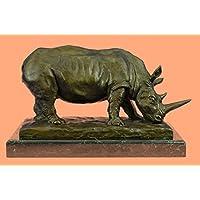 Statua di bronzo Scultura...Spedizione Gratuita...Antica via di estinzione rinoceronte Firmato Barye animali(XN-0992-EU)Statue Figurine Figurine Nude per ufficio e casa Décor Primo Giorno Collezionis - Antico Firmato
