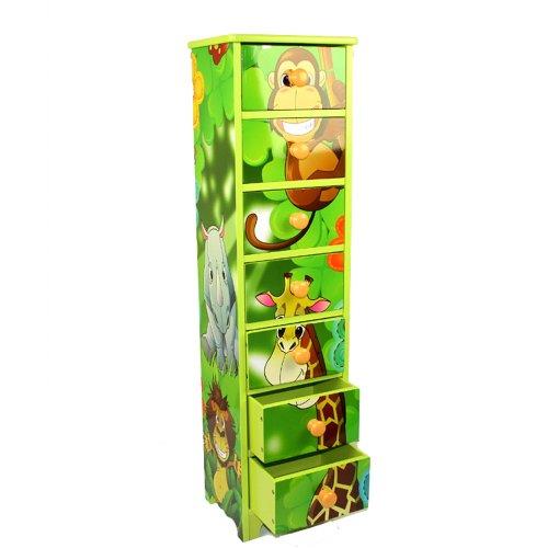 Homestyle4u 770 Kinderkommode Dschungel Tiere , Kinderschrank mit 7 Schubladen , Höhe 86 cm, Holz Grün -