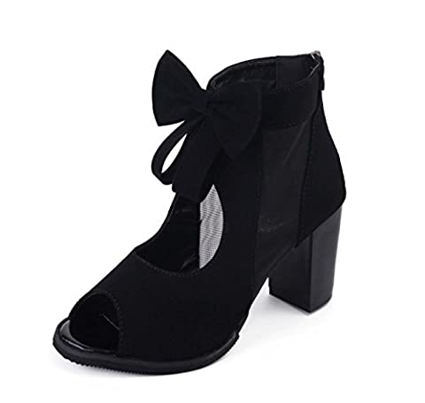 FARALY Peep Toe Cone Heel Shoes Dancing Bow Chaussures À Cheville Ankle Boot Platform Casual Shoes ( Color : Black , Size : 39 )