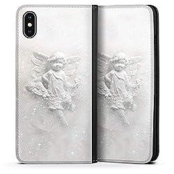 DeinDesign Leder Flip Case kompatibel mit Apple iPhone XS Max Tasche Hülle Engel Geschenk für Frauen Weihnachten