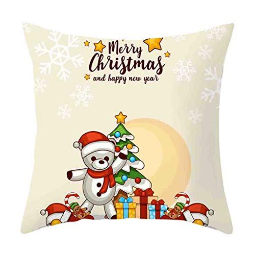 Weihnachten Schneemänner Elch Dekorativ Kissenbezug 45x45cm,Geometrisch Drucken Kopfkissenbezug Kissenhülle,Sofakissenbezüge Pillowcase für Wohnzimmer Sofa Auto (D) -