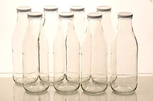 Flaschenbauer – 8 Leere Glasflaschen 1l inkl. Twist-Off-Schraubdeckeln TO48 in weiß – Glasflasche 1 Liter (Weithalsflasche) geeignet als Milchflasche 1l, Saftflasche, Smoothie Flasche