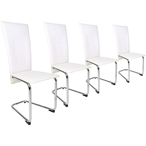 Miadomodo - Set de 4 sillas de comedor de cuero artificial en color crema