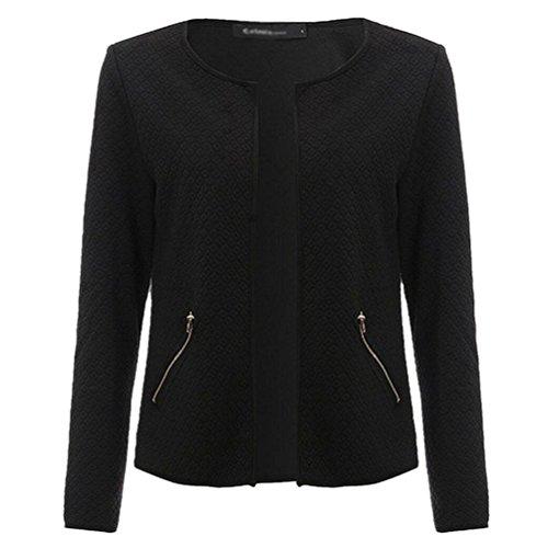 ZKOO Damen Mode V-Kragen Schlank Lange Ärmel Jacke Elegant Mantel Schwarz 3XL (Weißes Kleid Anzüge)