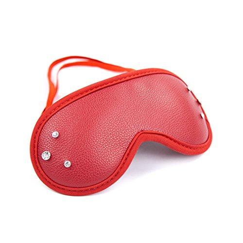 Damen Herren augenmaske augenbinde erotik Leder sm Bondage Fetisch Sex Spielzeug Cosplay mit Strass Für Anfänger Paare Verstellbar (Rot)