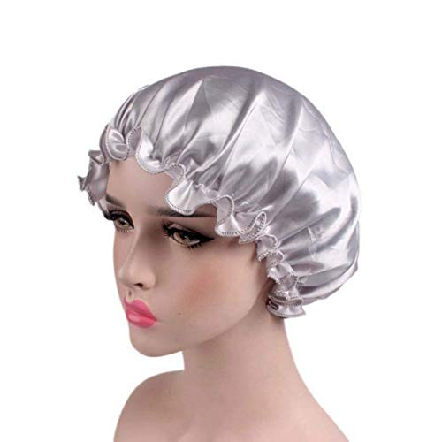 Mesdames Bon Bon Élastique Large Bande Capuchon Cap De Cosmétique Soins Capillaires Confortable Cap De Perte De Cheveux (Beige) (Color : Silber, Size : One Size)