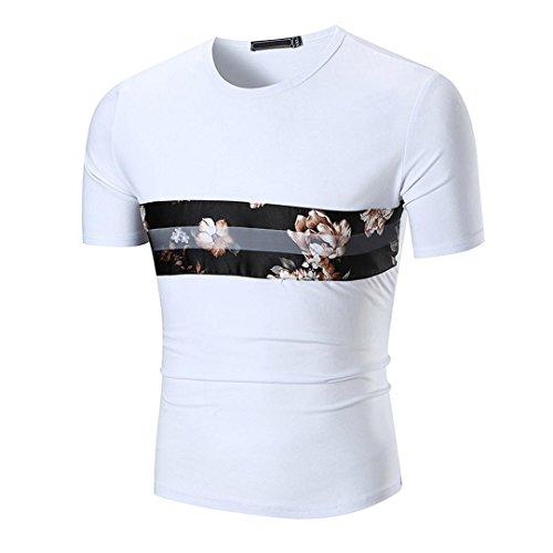Dasongff Mode Persönlichkeit Männer Bedruckt T Shirt Casual Slim Kurzarm Hemd Oversize T-Shirt Bluse Sommer Sweatshirt Pullover (4XL, Weiß)