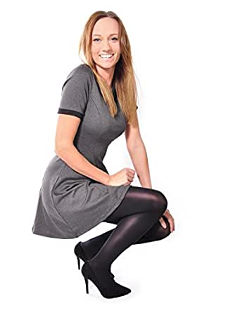 40 Denier Ladies Classic Tights Semi Opaque Glossy (Size 2 - Small, BLack)