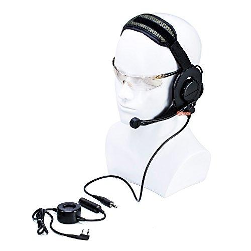 zeadio, ohraufliegende Hörmuschel Headset mit Drehgelenk Boom Mikrofon und Schwere Pflicht PTT für 2Pin Kenwood Baofeng PUXING Walkie Talkie Zwei-Wege-Radio -