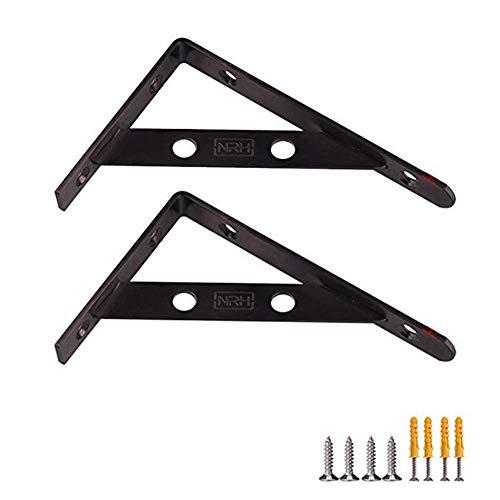 WaiMin Soportes de estante macizo de Acero inoxidable Montados en la pared, soporte de estante Soporte de esquina, soporte de ángulo Recto, paquete de 2 (Negro/Dorado) WaiMin