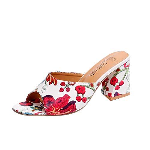 LSTC Frauen Stickerei Slip On Sandaletten Peep Toe Kleid Slide Heel Pump Sandalen US:6,White -