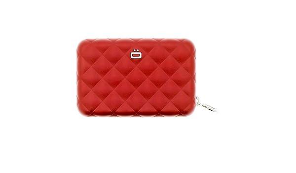 3e6f5cce6d Ögon Quilted Zipper Portafoglio porta carte di credito in alluminio RFID  sicuro in rosso: Amazon.it: Valigeria