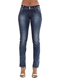 Pantalones de corte recto elástico de las señoras de los pantalones vaqueros del dril de algodón de la cintura baja azul de las mujeres