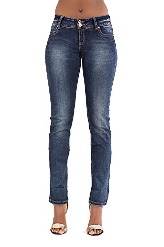 de5ae6ef3bf8 Lusty Chic New Women's Blue Low Rise Waist Denim Jeans Ladies Stretchy  Straight Cut Jeans Trousers, UK Size (10, Faded Blue)