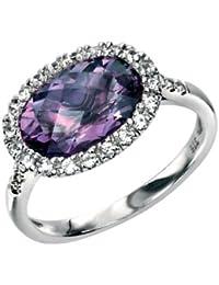 Noble prinzess anillo con amatista y weissen Zafiros, Sé oro 9 quilates