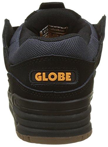 Globe Herren Fusion Skateboardschuhe, Schwarz, Mehrfarbig (Black/ebony/orange)
