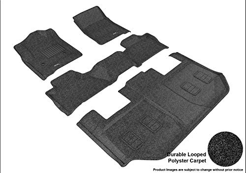 3d MAXpider All 3 Row Custom Fit Floor Mat for select / Suburban/Yukon XL Models - Classic Carpet (Black)