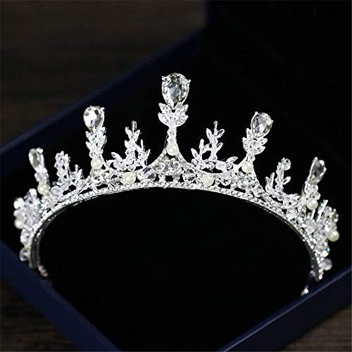 Kristall Krone Krone Braut Haarband Kristall Strass Perle Blume Stirnband Hochzeit Prom Krone Kopfschmuck Haarschmuck (Farbe: Silber) -