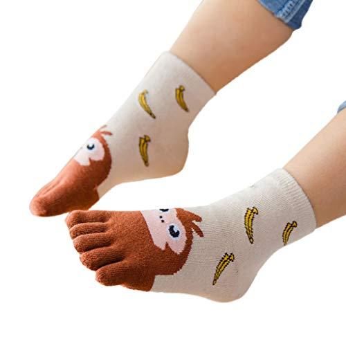 aby Kinder Mädchen Junge Cartoon Tier Fünf Finger Anti Slip Baumwollsocken Cartoon Tier In der Tube Zehensocken Vier Jahreszeiten Socken ()