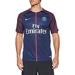 Nike PSG M Nk BRT Stad JSY SS Hm Camiseta 1ª Equipación Paris Saint Germain 17-18, Hombre, Azul (Midnight Navy/Blanco), L