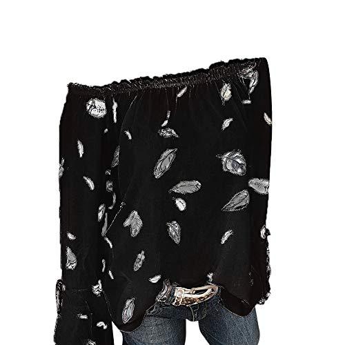 ESAILQ Frauen Mädchen Strapless Star Sweatshirt Langarm Crop Jumper Pullover Tops (L, Schwarz-1)