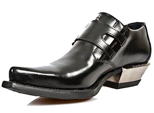 Scarpa Heel Argento Style / Cuban Style Nero Rock Nero con fibbie laterali Nero