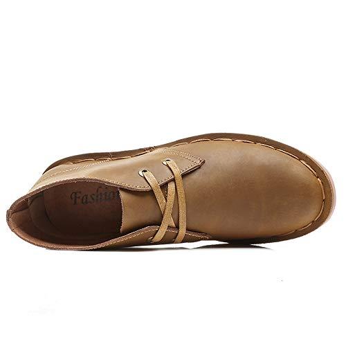 Wildleder-plattform-boot (HILOTU Fashion Boot Für Männer Casual Bequeme Knöchelschuhe Schnürschuhe Aus Leder Im Britischen Stil Mit Flachem Absatz (Color : Khaki, Größe : 38 EU))