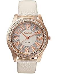 Oleva Premium Women's Leather Watch OPLW-29-WHITE