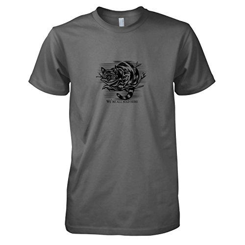 TEXLAB - Mad Here - Herren T-Shirt, Größe M, (Cheshire Kostüm Cat Herren)
