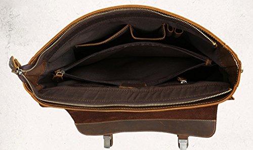 Insun ,  Herren Schultertasche Brown Crazy Horse Leather