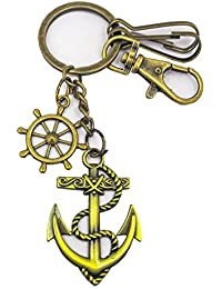 Metal Anchor And Ship Wheel Shape Golden Color Key Chain For Your Car Home Bike Office Keys