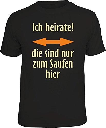 T-Shirt zum Junggesellenabschied für Bräutigam - ich heirate, die sind nur zum Saufen Hier, Größe XL 1851