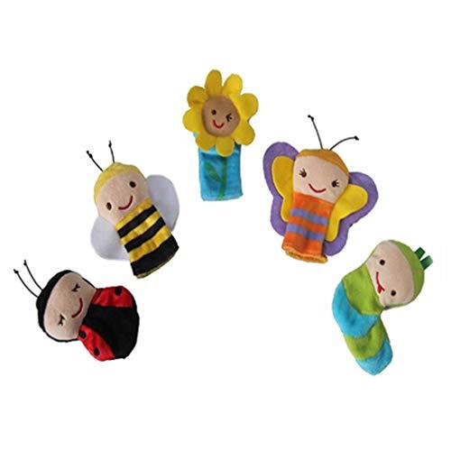 MOONRING Fingerpuppe Set Insekt Cartoon Thema Finger Paar Anzug Biene Marienkäfer Sonne Blume Schmetterling Raupe Finger Puppe