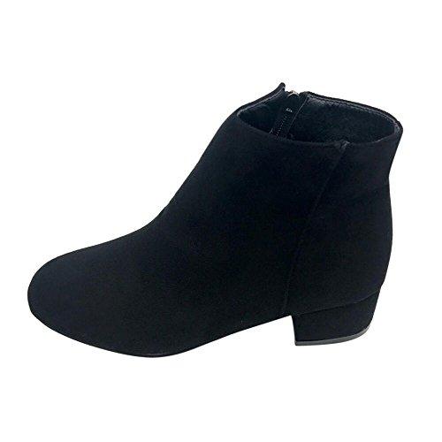 Zapatos de mujer Botines Mujer Martín Botas Otoño invierno Medio talón Cremallera Plataforma Cuesta abajo Casual Corto Zapatos LMMVP (38, Negro)