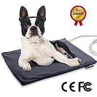 Manta Eléctrica para Mascotas 35W Almohadilla de Calefacción para Perros y Gatos con Temperatura Constante Automática 38-40 Grados Calentador Cama con Cubierta Impermeable y Desmontable(M:50 * 40cm)