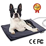Pecute Pet Heat Pad Medium 40x50cm,Constant Heating Safe Electric Heated Mat Waterproof with Removable Flannel Cover & Fire Retardant Cotton, Soft Cosy for large Cats Medium Dogs