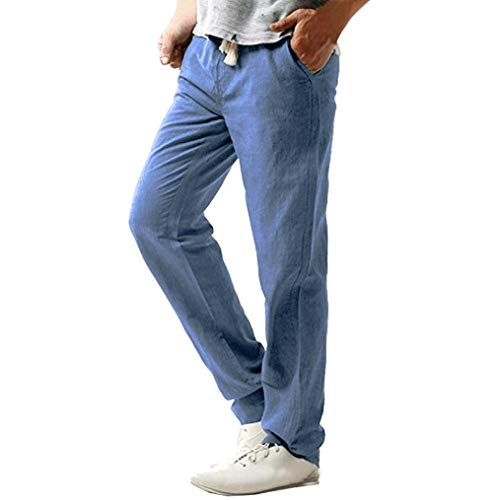 ♚ Pantalones de Lino Ocasionales de los Hombres,LIM Strand Hosen Linen Hose Pant Pantalones sólidos Absolute
