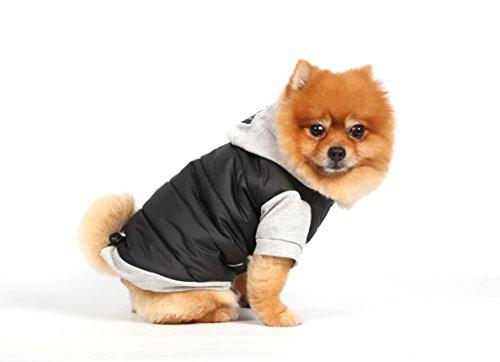 Doggy Dolly W109 Hundejacke Wasserabweisend mit Kapuze, schwarz/grau, Wintermantel/Winterjacke, Größe : XXS - 4