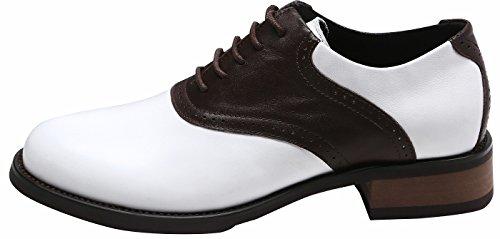 SimpleC Femme Vintage Saddle 50 Oxford Debies Chaussures, cuir perforé Oxford Chocolat