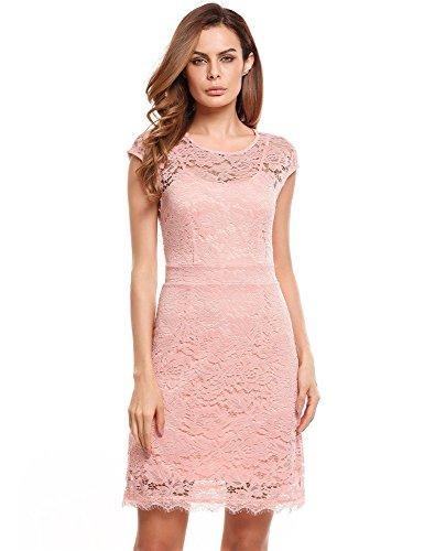 Pagacat Elegantes Spitzen Kleid Ärmellos Kurz Brautjungfern Mini Sommerkleider Etuikleid Partykleider