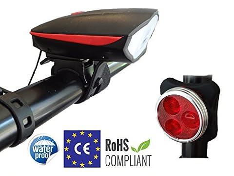 Fahrradlicht | Yami Fahrradlampe mit Fahrradklingel, Fahrrad Licht vorne + hinten, USB Fahrradbeleuchtung Wiederaufladbare, Wasserdicht LED Fahrradlampe set, Beleuchtung inkl. 250 Lum Lampenset Vorderlicht mit Fahrradklingel, Rücklicht, 2 USB-Kable