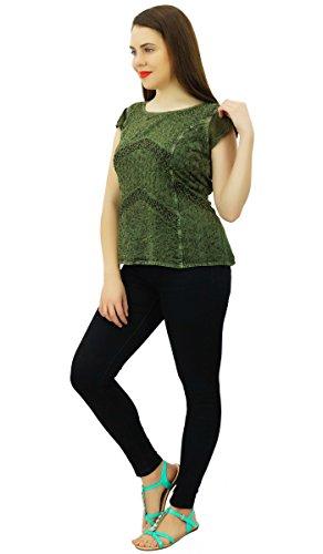 Vêtements Pour Femmes Rayonne Brodé Dessus Usure Chemise Décontractée À Manches Courtes Boho Vert