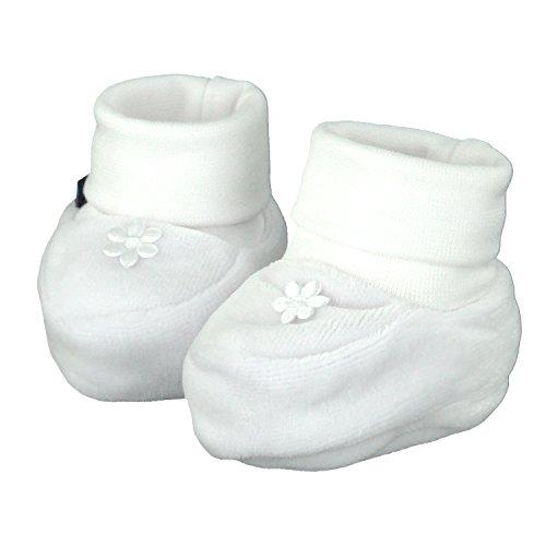 Pantau IT'S A SMALL WORLD Babyschuhe Erstlingsschuhe Taufschuhe Babysocken, mit Blume, Weiß, Samt, Alter 0-3 Monate, 16 EU