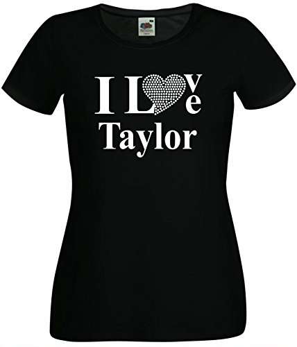 T-Shirt I Love Taylor mit einer Strassaplikation / Strassherz Schwarz
