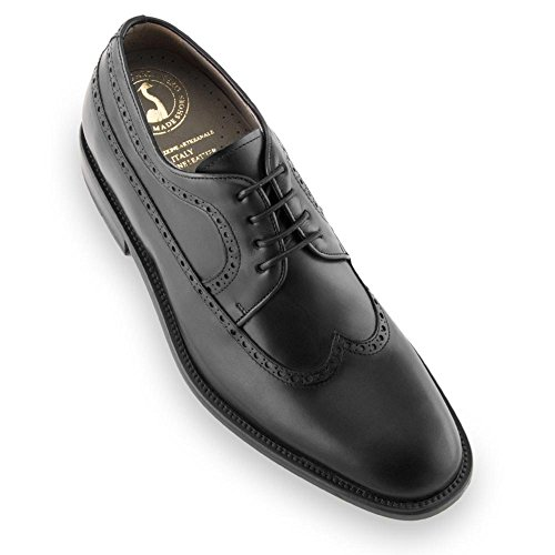 Masaltos scarpe con rialzo da uomo che aumentano l'altezza fino a 7 cm. fabbricate in pelle. modello lexter (41, nero)