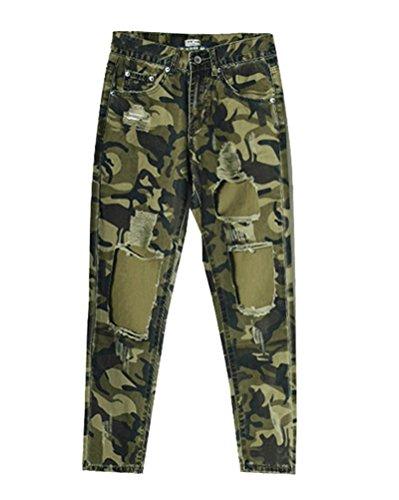 SaiDeng Donna Boyfriend Stile Vita Alta Camouflage Hole Jeans Dritti Camouflage 36